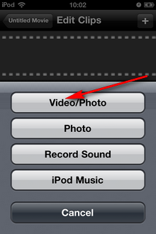 Insert your video in ReelDirector - How to import other camera videos into iMovie app for iPhone, iPad or iPod Touch